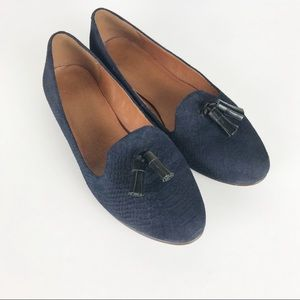 Madewell The Tassie Navy Suede Loafers Size 8.5